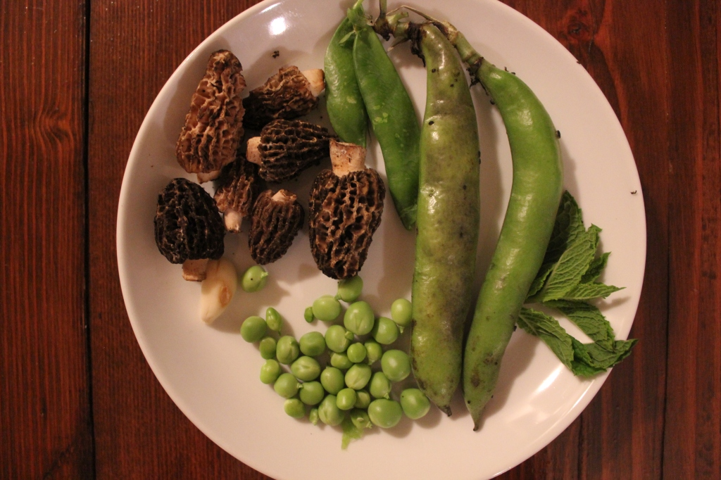 Fava beans, peas. garlic, morels, and mint