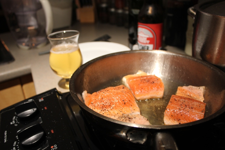 Trout with pilsner