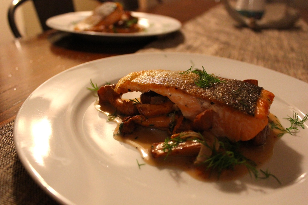 Trout with Chanterelles